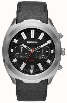 Diesel 男士不倒翁手表黑色皮革表带 DZ4499