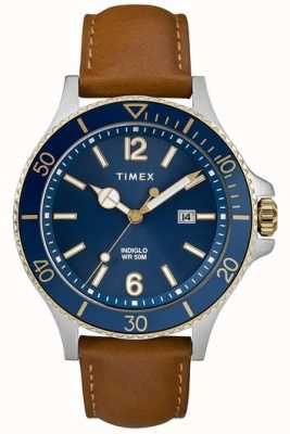 Timex |男士| indiglo harbourside |蓝色表盘|棕褐色皮革| TW2R64400D7PF