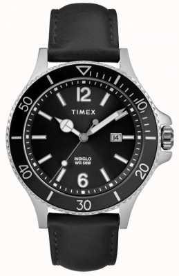 Timex |男士| indiglo harbourside |黑色表盘|黑色皮革| TW2R64400D7PF