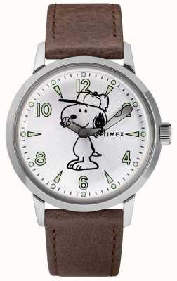 Timex 史努比(Snoopy)Welton银色表盘棕色皮革表带 TW2R94900