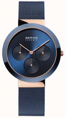 Bering 陶瓷|抛光玫瑰金表壳|蓝色表盘 35036-367