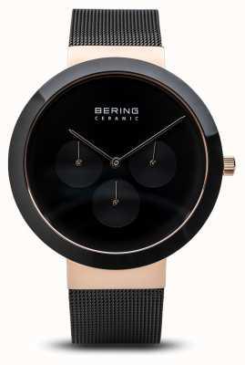 Bering 陶瓷 抛光玫瑰金表壳 黑色表盘 35040-166