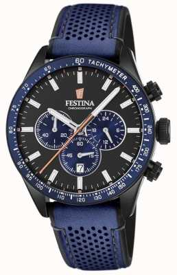 Festina 男士计时码表黑色表盘蓝色皮革表带 F20359/2