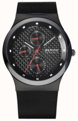 Bering 男士陶瓷黑色网状手链黑色表盘 32139-309