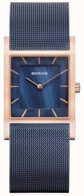 Bering 蓝色网眼手链蓝色珍珠贝母表盘 10426-367-S