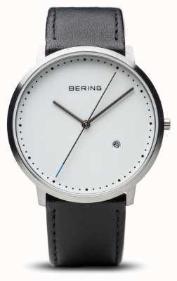 Bering 男女皆宜的白色表盘黑色皮革表带 11139-404