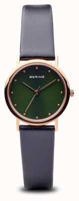 Bering 经典款抛光玫瑰金黑色表带绿色表盘 13426-469