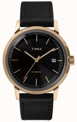 Timex 男士自动黑色皮革表带黑色表盘 TW2T22800