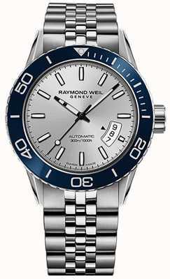 Raymond Weil 男士自由职业者自动潜水员不锈钢手链 2760-ST4-65001