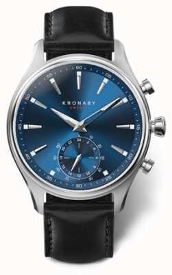 Kronaby 41毫米sekel蓝色表盘黑色皮表带a1000-3758 S3758/1