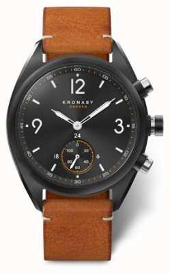 Kronaby 男士apex 41蓝色黑色表盘,棕色皮革 A1000-3116