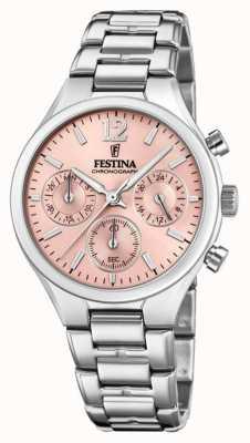 Festina 女式男友计时码表不锈钢粉色表盘 F20391/2