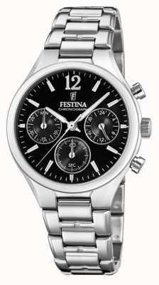 Festina 女式男友计时码表不锈钢黑色表盘 F20391/4