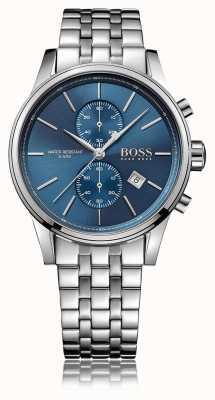 Hugo Boss 男士喷射计时不锈钢表链蓝色表盘 1513384