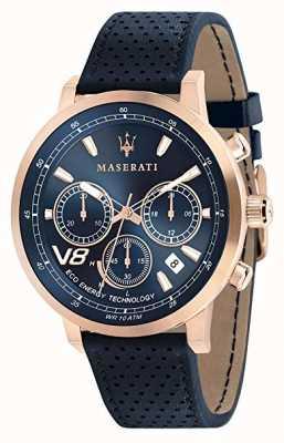 Maserati 男士GT 44毫米|太阳能|玫瑰金表壳|蓝色表盘|皮革 R8871134003