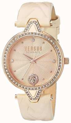 Versus Versace 女性与v对比'|浅玫瑰表盘玫瑰皮革 VSPCI3317