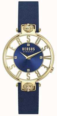Versus Versace 女装kirstenhof |蓝色/白色表盘|蓝色皮革表带 VSP490218