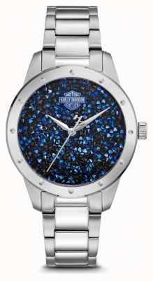 Harley Davidson 女式水晶镶蓝色表盘|不锈钢手链 76L188