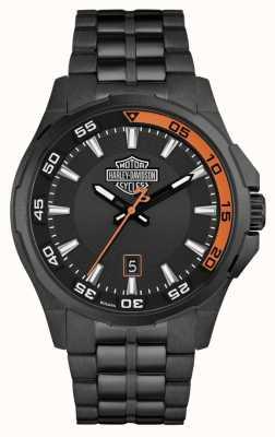 Harley Davidson 男士仪表板|黑色表盘|黑色不锈钢手链 78B141