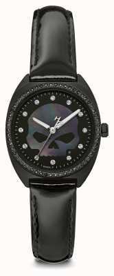 Harley Davidson 女式水晶威利克头骨|黑色表盘|黑色皮革 78L125