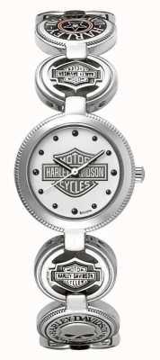 Harley Davidson 女式魅力手环腕表|银色不锈钢 76L145