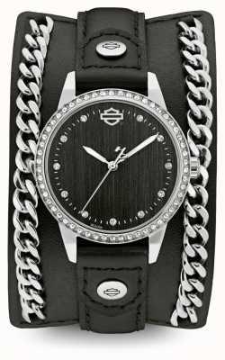 Harley Davidson 妇女从链袖口收集|黑色皮革表带 76L184
