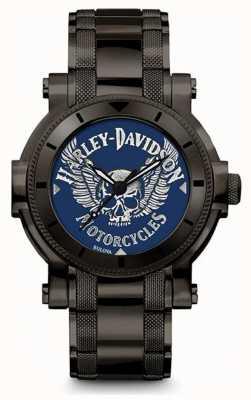 Harley Davidson 男士为他|黑色不锈钢手链|蓝色表盘 78A117