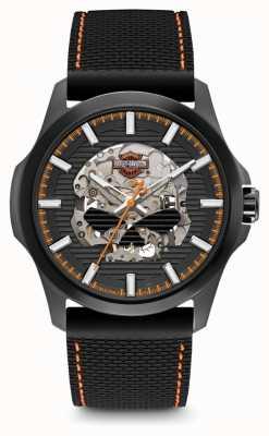 Harley Davidson 男士威利克头骨|黑色表盘|黑色硅胶表带 78A118