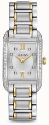 Bulova 女士银色钻石镶嵌石英 98R227