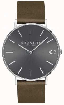 Coach 男士查尔斯|棕色皮表带|灰色表盘 14602153