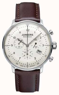Junkers 男士bauhaus计时码表棕色皮表带 6086-5