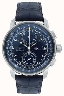 Zeppelin |系列100年|计时码表日期|蓝色皮革| 8670-3