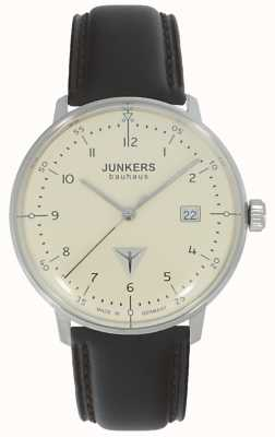 Junkers 包豪斯奶油色表盘棕色皮革表带手表 6046-5