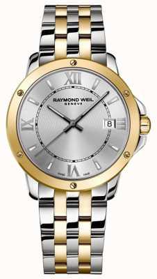 Raymond Weil 男士探戈|双色不锈钢手链|银色表盘 5591-STP-00308