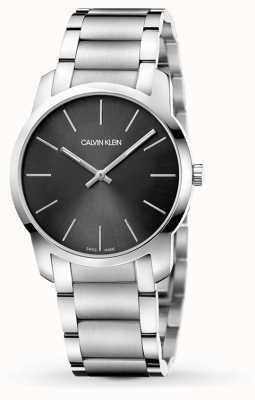 Calvin Klein  男装城 不锈钢手链 黑色/灰色表盘 K2G22143