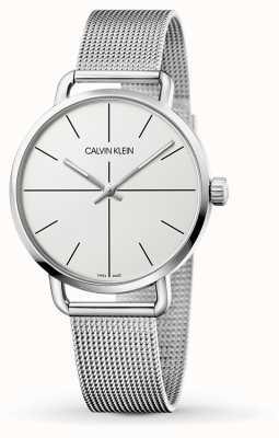 Calvin Klein |女性甚至中等不锈钢网|白色表盘| K7B21126