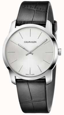 Calvin Klein |城市扩展观察|黑色皮革表带|银色表盘| K2G221C6