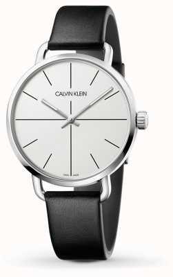 Calvin Klein |甚至扩展手表|黑色皮革表带|白色表盘| K7B211CY