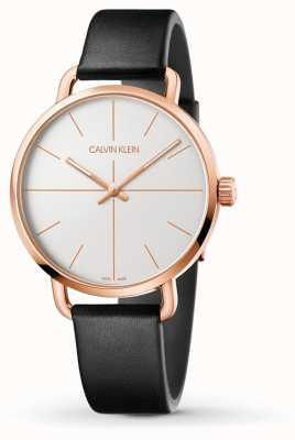 Calvin Klein |甚至扩展手表|黑色皮革表带|玫瑰金案 K7B216C6
