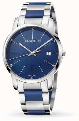 Calvin Klein  男子城市扩建 双色不锈钢 蓝色表盘 K2G2G1VN