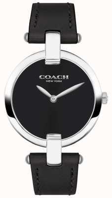 Coach |女士chrystie手表|黑色皮革和钢铁| 14503091