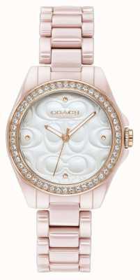 Coach |女式现代运动手表|粉红色的白脸| 14503256