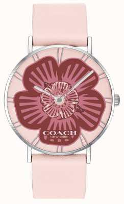 Coach |女士佩里手表|粉色皮革表带|花卉表盘| 14503231