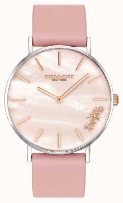 Coach |女士佩里手表|粉色皮革表带| 14503244