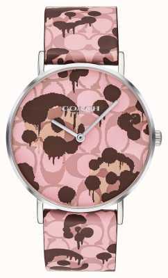 Coach |女士佩里手表|粉红色皮革表带花卉设计| 14503246