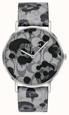 Coach |女士佩里手表|灰色皮革表带花卉设计| 14503248