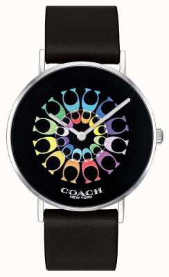 Coach |女士佩里手表|黑色皮表带黑色表盘| 14503289