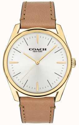 Coach |男士现代奢华手表|棕褐色皮表带白色表盘| 14602398
