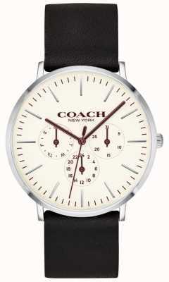 Coach |男士varick手表|黑色皮革表带白色表盘| 14602387