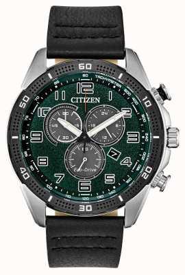 Citizen 生态驱动动作需要男士绿色表盘皮革wr100 AT2441-08X